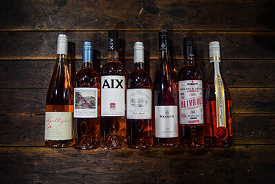 Group Rose Wine Bottle Photo